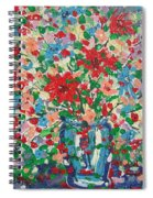 Blue And Red Flowers. Spiral Notebook