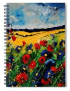 Blue And Red Poppies 45 Spiral Notebook