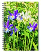 Blue And White Iris Spiral Notebook