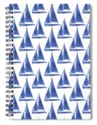 Blue And White Sailboats Pattern- Art By Linda Woods Spiral Notebook