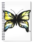 Blue And Yellow Watercolor Butterfly Spiral Notebook