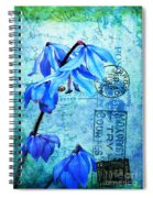 Blue Bells On Vintage 1936 Postcard Spiral Notebook