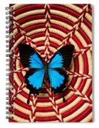 Blue Black Butterfly In Basket Spiral Notebook