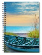 Blue Boat At Dawn Watercolors Painting Spiral Notebook