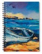 Blue Boat On The Mediterranean Beach Spiral Notebook