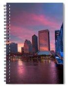 Blue Bridge Red Sky Jacksonville Skyline Spiral Notebook