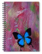Blue Butterfly On Colorful Wooden Wall Spiral Notebook