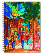 Blue Cafe In Springtime Spiral Notebook