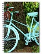 Blue Garden Bicycle Spiral Notebook
