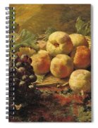 Blue Grapes And Peaches In A Wicker Basket Spiral Notebook