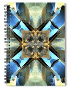 Blue, Green And Gold Abstract Spiral Notebook