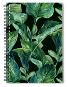 Blue Green Watercolor Tropical Leaves Spiral Notebook
