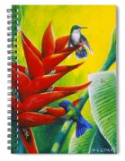 Blue-headed Hummingbirds And Heliconia Spiral Notebook
