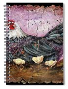 Blue Hen With Chicks Fresco Black Background Spiral Notebook