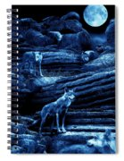 Blue Moon Wolf Pack Spiral Notebook