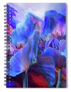 Blue Poppies On Red Spiral Notebook