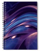 Fractal Wave Blue Purple Spiral Notebook