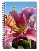 Blue Sky Floral Landscape Pink Lilies Art Prints Canvas Baslee Troutman Spiral Notebook