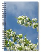Blue Sky White Clouds Landscape Art White Tree Blossoms Spring Spiral Notebook
