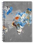 Blue Street Art World Map Spiral Notebook