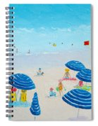 Blue Striped Umbrellas Spiral Notebook