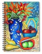 Blue Vase With Orange Flowers Spiral Notebook