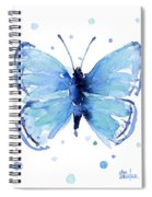 Blue Watercolor Butterfly Spiral Notebook