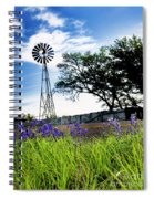 Bluebonnets With Windmill Spiral Notebook