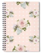 Blush Pink Floral Rose Cluster W Dot Bedding Home Decor Art Spiral Notebook