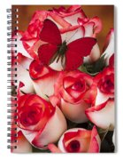 Blush Roses With Red Butterfly Spiral Notebook