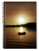 Boat At Sunset Glow - Sepia  Spiral Notebook
