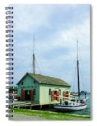 Boat By Oyster Shack Spiral Notebook