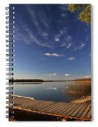 Boat Dock And Autumn Trees Along A Saskatchewan Lake Spiral Notebook