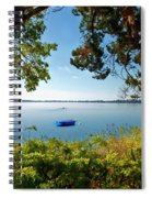 Boat Framed By Trees And Foliage Spiral Notebook