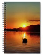 Boat In Sunset Glow Spiral Notebook