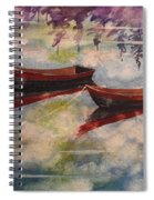 Boat Reflections Watercolor Painting Spiral Notebook