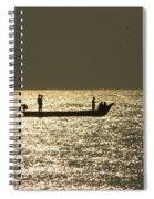 Boat Silhouette In Sunrise At Marina Beach, Chennai Spiral Notebook