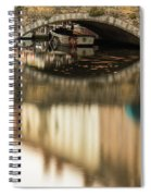 Boat Waddling On Water Channels Of Bruges, Belgium Spiral Notebook