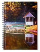 Boathouse In Autumn Oil Painting Spiral Notebook