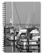 Boats And Reflections B-w Spiral Notebook