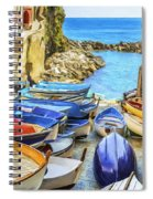 Boats At Cinque Terre Spiral Notebook