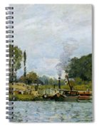 Boats At The Lock At Bougival Spiral Notebook