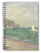 Boats Below The Cliffs At Pourville Spiral Notebook