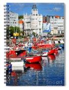 Boats In The Harbor - La Coruna Spiral Notebook