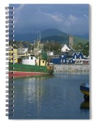 Boats Moored At A Harbor, Dingle Spiral Notebook