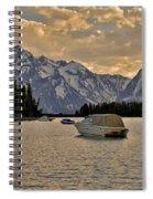Boats On Jackson Lake At Sunset Spiral Notebook