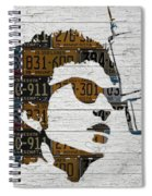 Bob Dylan Minnesota Native Recycled Vintage License Plate Portrait On White Wood Spiral Notebook