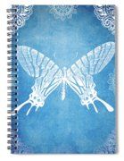 Bohemian Ornamental Butterfly Deep Blue Ombre Illustratration Spiral Notebook