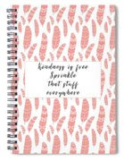 Bohemian Feathers Coral  Kindness Is Free Spiral Notebook