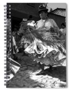 Bolivian Dance Black And White Spiral Notebook
